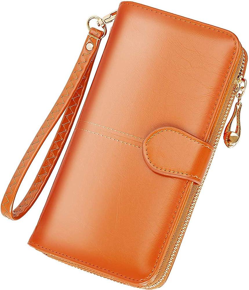 Y yongyuan portafoglio porta carte di credito per donna in ecopelle ambra