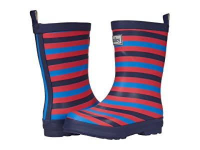 Hatley Kids Navy Stripe Matte Rain Boots (Toddler/Little Kid) (Blue) Boy