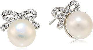 Women's Crystal Rhodium Pearl Bow Stud Earrings Crystal Stud Earrings