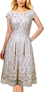 Womens Floral Lace Pockets Pleated Cocktail Party Skater A-Line Dress