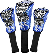 Skull Head Embroidery Golf Club Wood Cover Drivers and Woods Cover for Titleist, Callaway, Ping, Taylormade, Cobra, Nike