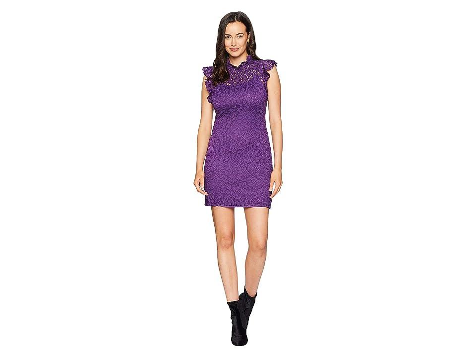 Image of ALEXIA ADMOR Cap Sleeve Lace Sheath (Purple Royal) Women's Dress