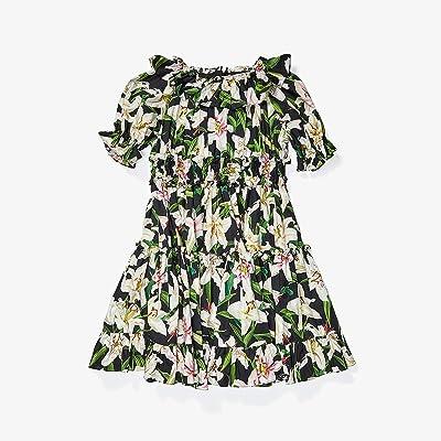 Dolce & Gabbana Kids Lily Print Poplin Dress (Big Kids) (Gigli Nero) Girl