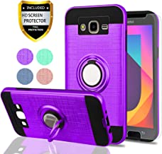 Galaxy J7 2015 Case,J7 NEO Case with HD Phone Screen Protector,YmhxcY 360 Degree Rotating Ring & Bracket Dual Layer Resistant Back Cover for Samsung Galaxy J7 J700 2015-ZH Purple