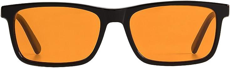 Blue Light Blocking Reading Glasses for Better Sleep - Amber Orange Computer Filter Anti Eye Strain - Square Eyeglasses Fr...