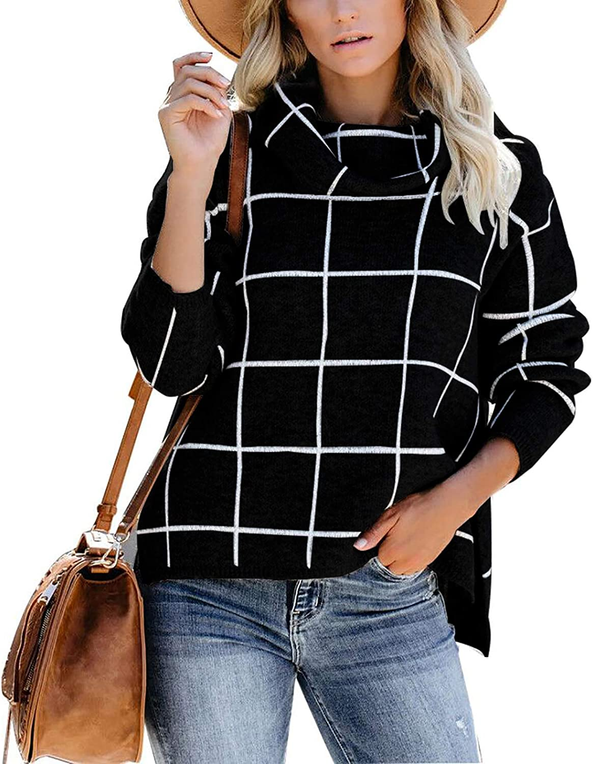 Manufacturer direct delivery Womens Turtleneck Max 79% OFF Long Sleeve Casual Pullover Kni Sweater Chunky