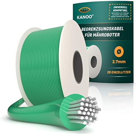 kanoo® Cable delimitador para robot cortacésped, universal, cable de limitación de cobre de calidad, cable para cortacésped Husqvarna, Gardena, Bosch, Stihl, etc. Ø2,7 mm, 150 m