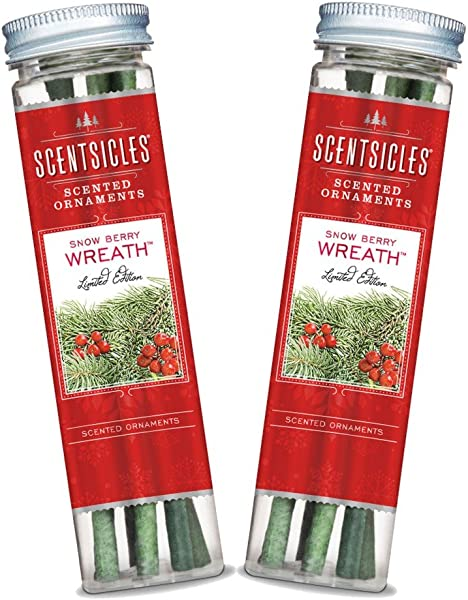 Scentsicles Snow Berry Wreath Scented Ornament Sticks 2 Bottles 12 Total Ornament Sticks