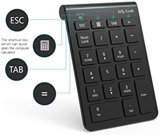 Wireless Number Pad, Jelly Comb N030 Portable Mini USB 2.4GHz 22-Key Financial Accounting Numeric Keypad Keyboard Ext...