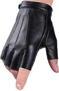 Fingerless Gloves Driving Gloves Faux Polyurethane PU Leather Touchscreen Texting Dress Moto Black Gloves for Men Women Teens