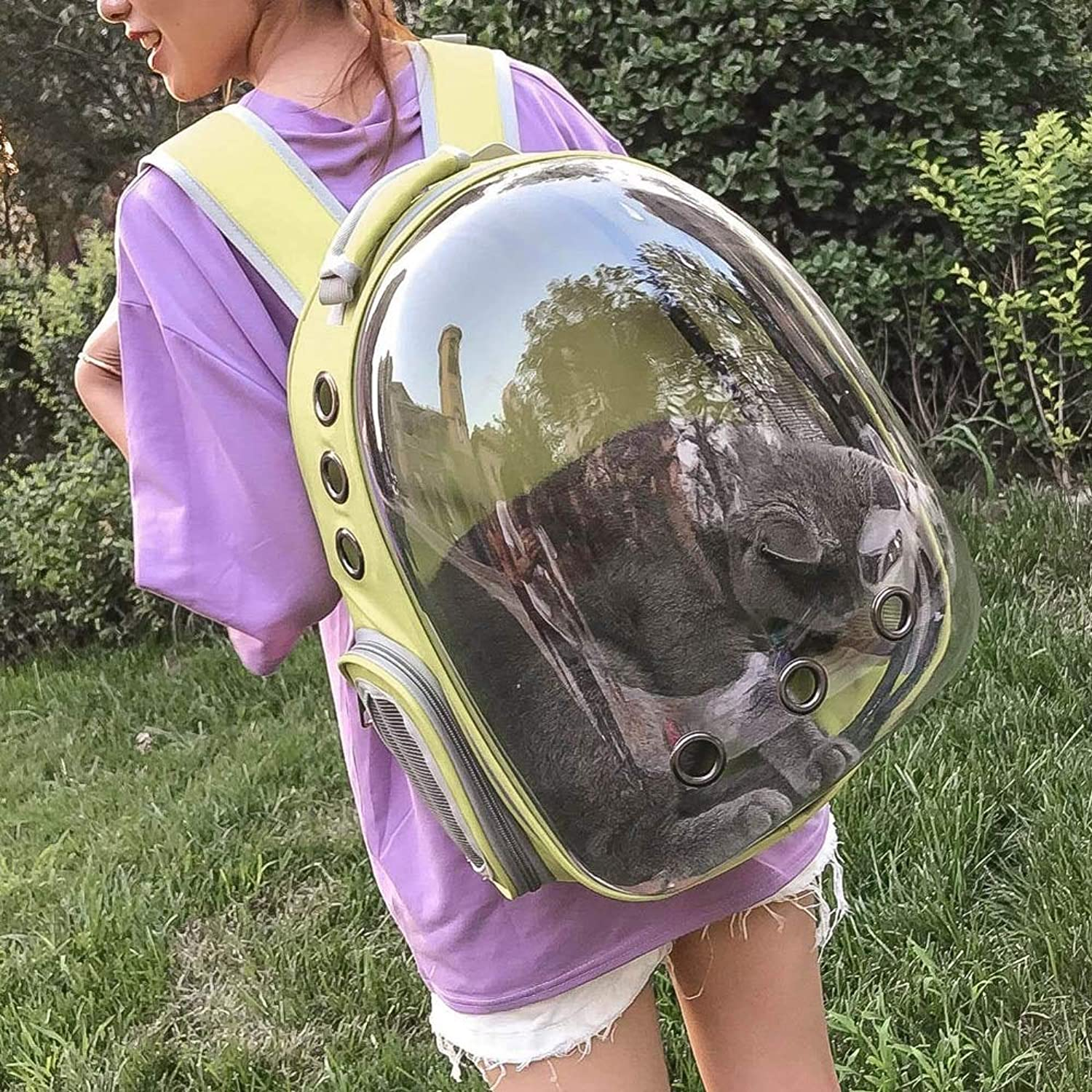 Pet Capsule Backpack Multiple Air Vents Waterrepous Lightweight Durable Outdoor Portable Transformer Pet Carrier Backpack (giallo)