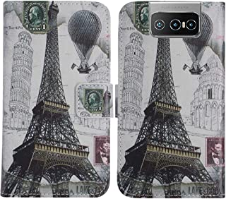 TienJueShi Eiffel Tower Fashion Stand TPU Silicone Book Stand Flip PU Leather Protector Phone Case For Asus Zenfone 7 Pro ...