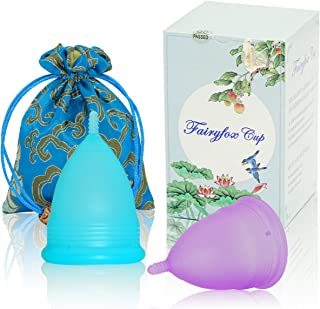 Menstrual Cup by Fairyfox Set of 2 Periods Kit with Silk Brocade Bag - Soft Comfort Fit, Reusable Menstrual Cups (Small, Blue&Purple)