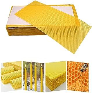 Qyuruisi 30pcs Natural Beeswax Sheets Bee Honey Sheets Beehive Deep Nest Foundation Beekeeping Equipment Bee Hive Honeycomb Sheets DIY Handmade Candle Making Kit(16.34 x 7.68in or 41.5 x 19.5cm)