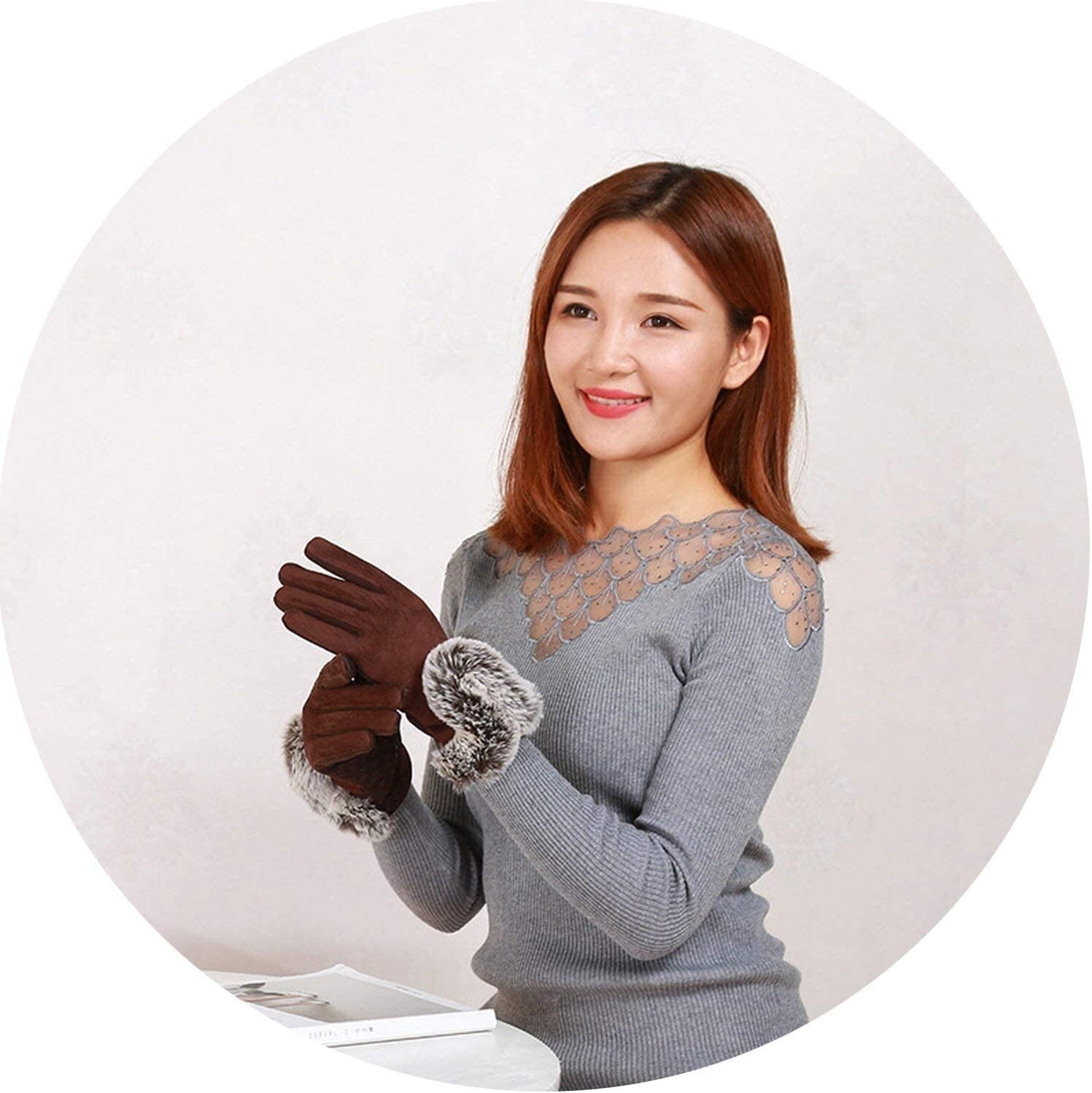 Samantha Warm Gloves Female Winter Suede Leather Cashmere Full Finger Warm Gloves Women Large Plush Cuff Cotton Touch Screen Gloves (Color : Brown, Size : Oneszie)