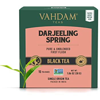 VAHDAM, Exotic Darjeeling First Flush Tea Leaves (30 Tea Bags)- Long Leaf Pyramid Darjeeling Tea Bags, Aromatic & Flowery, 100% Pure Unblended First Flush Darjeeling Tea, Packed in India