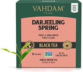 VAHDAM, Exotic Darjeeling First Flush Tea Leaves (30 Tea Bags)- Long Leaf Pyramid Darjeeling Tea Bags, Aromatic & Flowery,...