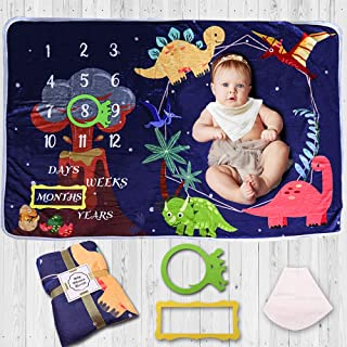 DILIMI Baby Monthly Milestone Blanket Dinosaur Soft Flannel Nursery Bed Blankets for Boys Photography Background Blankets