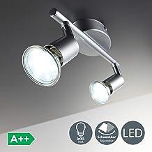 B.K.Licht Lámpara de techo con focos giratoria incl. 2 x 3 W bombillas LED GU10 Aplique de salón