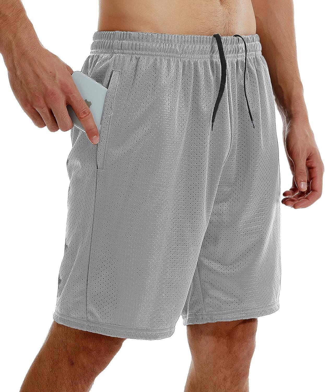 Vogyal Mens Mesh Athletic High material Running Pockets Columbus Mall Shorts with Zipper