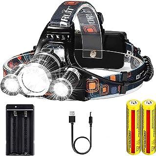 Headlamp,UVER 20000 High Lumens Ultra Bright Head Lamp, 18650 USB Rechargeable LED Work Headlight Flashlight Waterproof Fl...
