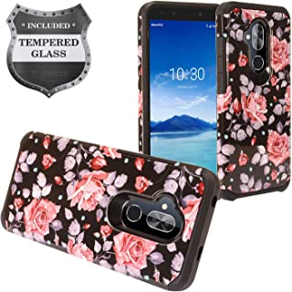 Alcatel 7 Phone 6062W, T-Mobile REVVL 2 Plus (2018), REVVL2 Plus 6062Z - Hybrid Image Hard Case + Tempered Glass Screen Protector - AD1 Pink Rose