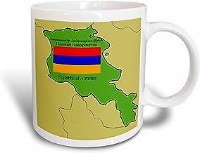 3dRose Map and Flag of Armenia with Republic of Armenia Printed in English and Armenian, Mug, 11-Oz