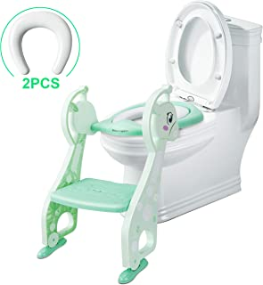 SSBRIGHT Potty Training Seat with Ladder Potty Training Toilet Toddler Potty Chair Girls Potty Seat Boys Toilet Seat (Mint Green)