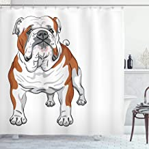 Ambesonne English Bulldog Shower Curtain, Muscular Dog with Sketch Style Illustration of Canine Pure Breed Animal, Cloth Fabric Bathroom Decor Set with Hooks, 75 Long, Brown White