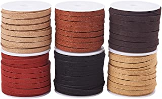 PandaHall Elite 6 Rolls 5mm Flat Micro Fiber Faux Leather Suede Cords Lace Velvet Beading String 5.5 Yard per Roll for Jewelry Making 6 Colors
