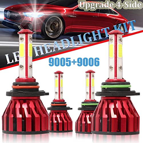 popular 9005 and 9006 Combo LED Headlight Bulbs For Chevrolet high quality Tahoe 1995-2006 High Beam and Low Beam 4-Side COB Chips Headlamp Replacement 2021 Extremely Bright 24000LM 6000K White sale