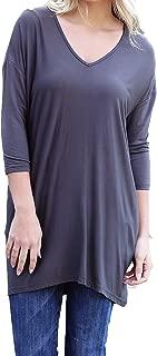Women's Original V-neck 3/4 Sleeve Tunic-Dark Gray-medium