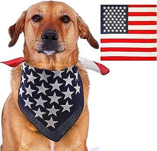 Yu-Xiang USA Flag Dog Bandana Pet Triangle Bibs Pet Bandanas Dog Scarf American Flag Handkerchiefs (Flag)