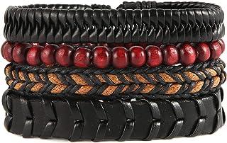 دستبند چرمی بافته شده Scddboy برای مردان ، 4 دستبند بسته بندی شده برای پسران ، طناب های کنف ، مهره های چوبی مهره های قومی