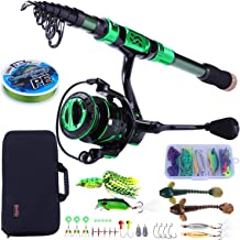 Sougayilang Fishing Rod and Reel Combos - Carbon Fiber Telescopic Fishing Pole - Spinning Reel 12 +1 BB with Carrying Case for Saltwater and Freshwater Fishing Gear Kit