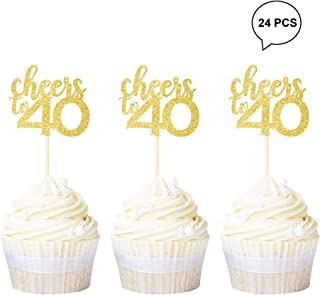 Newqueen 24 Pack Cheers to 40 Cupcake Toppers Gold Glitter Forty 40th Birthday Cupcake Picks Decoration for Anniversary Party Supplies