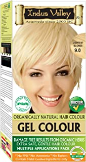 Indus Valley Gel Hair Color Lightest Blonde 9.0 No PPD, No Ammonia, No Hydrogen Peroxide, No Barium with Refreshing Orange Aroma & Gives color in just 30 minutes (Upto 4 applications)