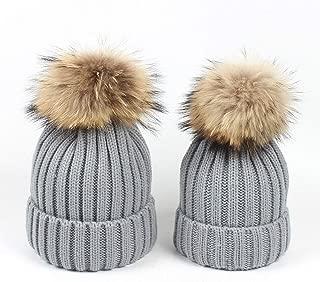 Mother Daughter Matching Hats 2pcs Matching Beanies Parent-Child Winter Warm Crochet Knit Beanie Hat with Pom Pom Balls