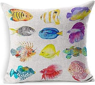 Funda de almohada de lino cuadrado púrpura azul mar acuarela peces llama color pez ángel naturaleza coral rojo playa agua salvaje funda de almohada decoración del hogar funda de cojín 18x18 pulgadas