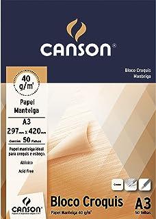 Bloco Croquis Manteiga A3 40g/m², Canson, 66667047, 50 Folhas