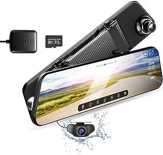 ドライブレコーダー ミラー型 12インチ 1296P高画質 前後カメラ 32GB TFカード GPS搭載 日本語音声対応 Sonyセンサー 128GB対応 電波障害対策 ノイズ対策 170°超広角 駐車監視 WDR 暗視機能 防水構造 日本語説...