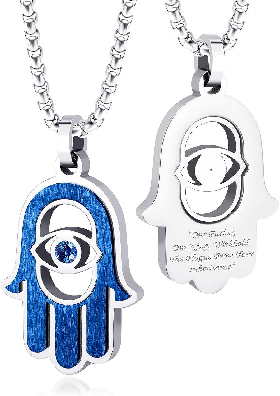 555Jewelry Stainless Steel Hamsa Necklace Hand of Fatima Evil Eye CZ Pendant, 16-20