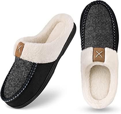 Homitem Men's Cozy Memory Foam Slippers,Fuzzy Wool-Like Plush Fleece Lined House Slippers Men Indoor Outdoor Slippers with Anti-Skid Rubber Sole