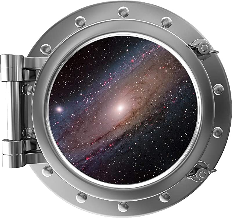 24 PortScape Milky Way Galaxy 1 Silver Porthole Wall Decal Removable Wall Sticker Galactic 3D Window Instant Space View Stars Solar System Astronomy NASA Kids Room Decor