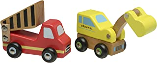 The Original Toy Company Wooden Construction Trucks Set