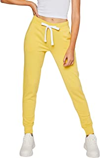 esstive Women's Ultra Soft Fleece Basic Midweight Casual Solid Jogger Pants, Butter Yellow, Large