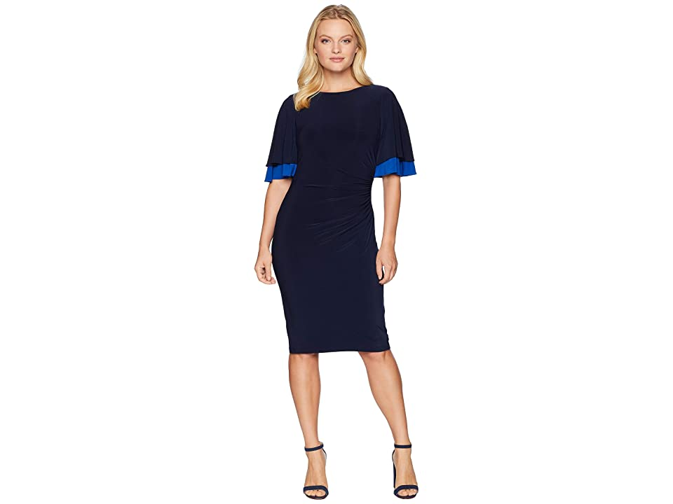 LAUREN Ralph Lauren Kiani Matte Jersey Elbow Sleeve Day Dress (Lighthouse Navy/Blue Ocean) Women