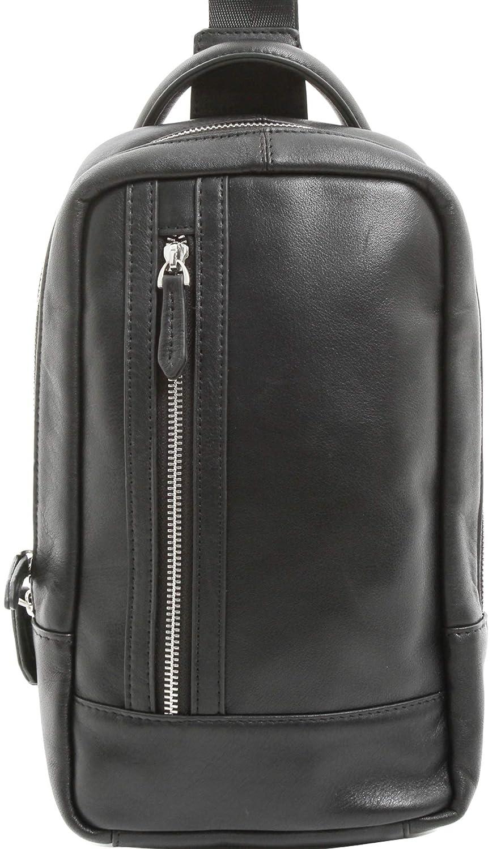 [カルリーノ] 正規品 ボディバッグ 本革 ショルダーバッグ レザー 斜めがけ バッグ メンズ 黒 AP-082