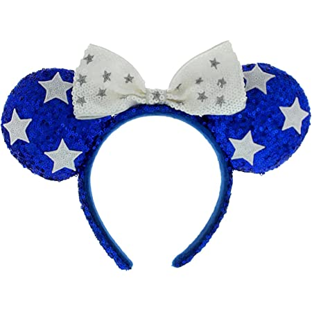 NEW Disney Parks Blue /& White Star Minnie Mouse Sequin Ear Hat Headband with Bow