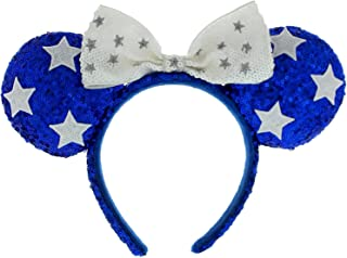 Blue & White Sequined Minnie Mouse Ears Headband with Stars